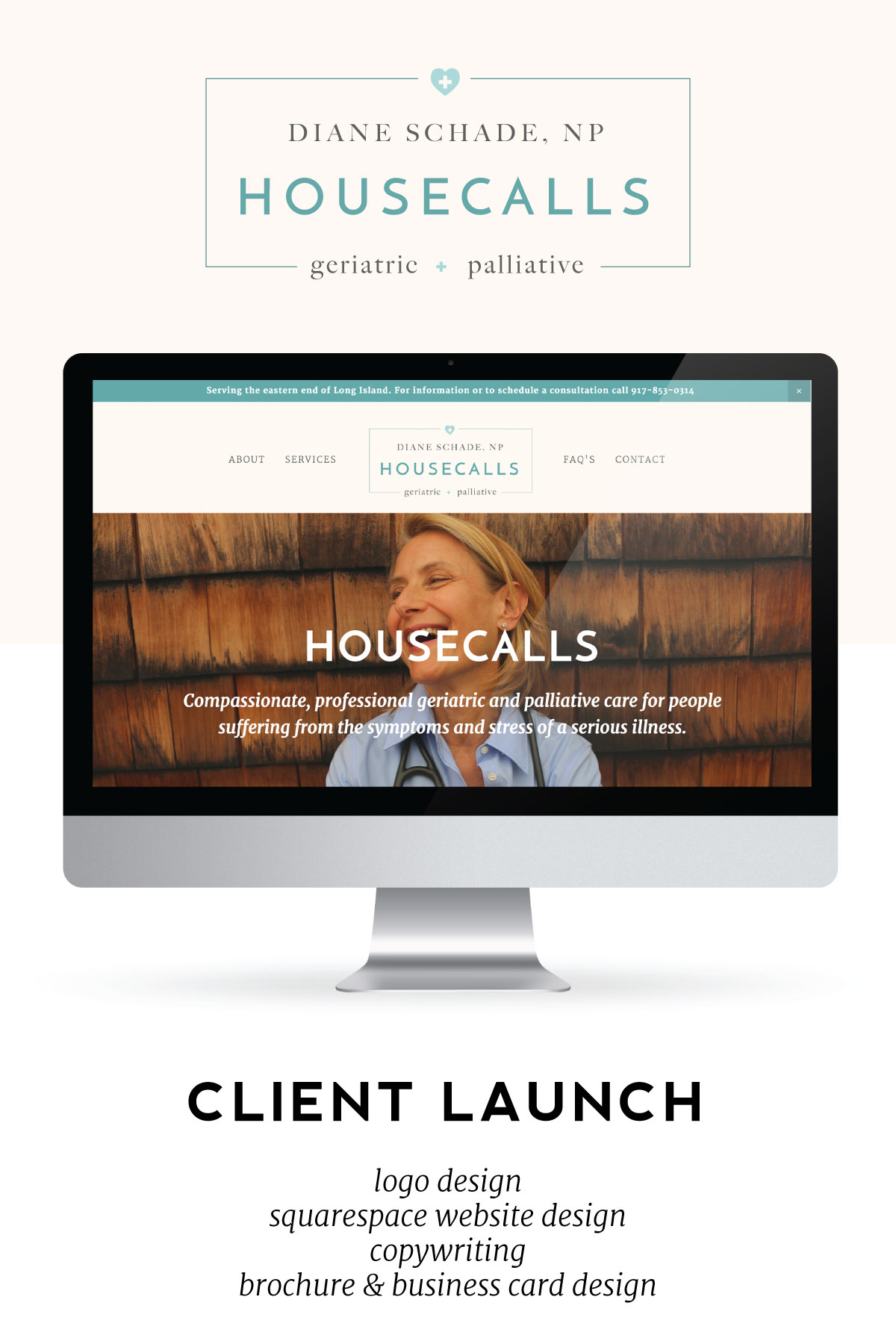 Today we're celebrating the launch of our lovely client Diane Schade and her new website, brochure, and business cards!Learn how we selected a color palette inspired by her love of the ocean and designed a logo that embodies the upscale vibe of her community (The Hamptons) yet warm and inviting for her her patients.
