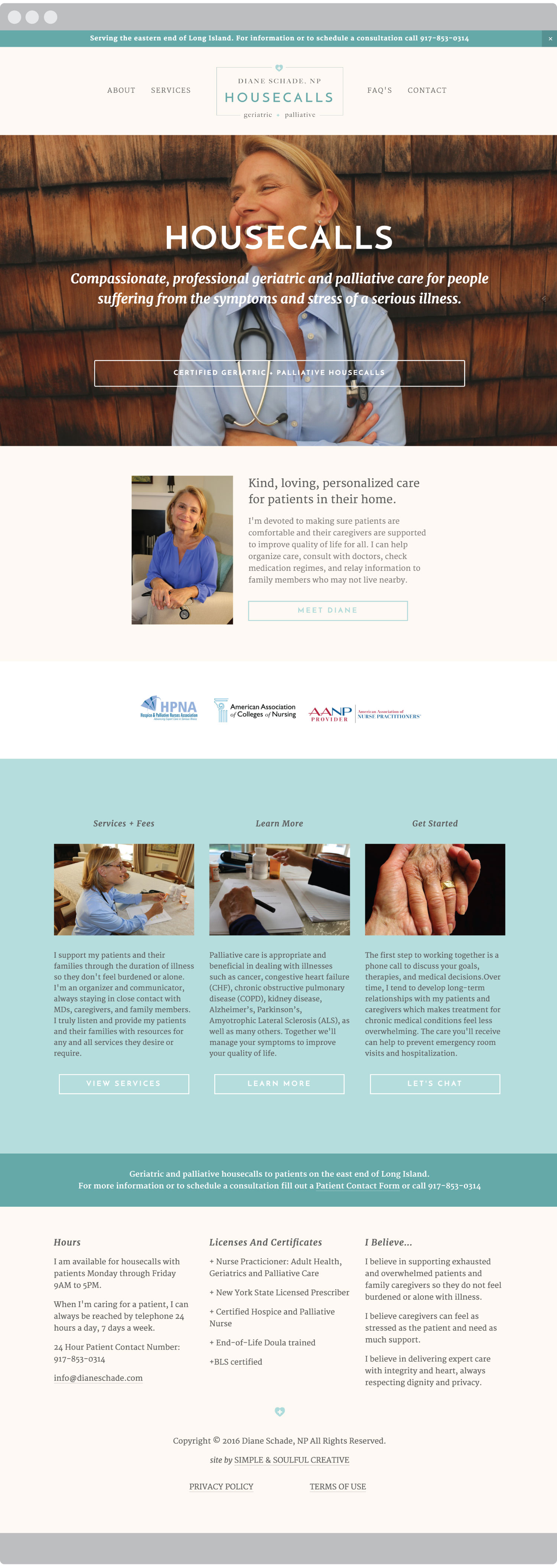 The homepage design for our simple and soulful client Diane Schade NP.