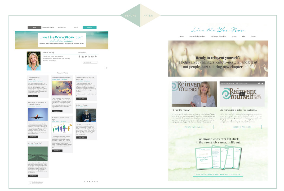 Squarespace website makeover for life and career coach and speaker Rita Connor of Live The Wow Now.