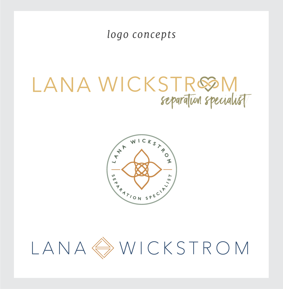 Logo concepts for Lana Wickstrom branding. By Simple & Soulful Creative.