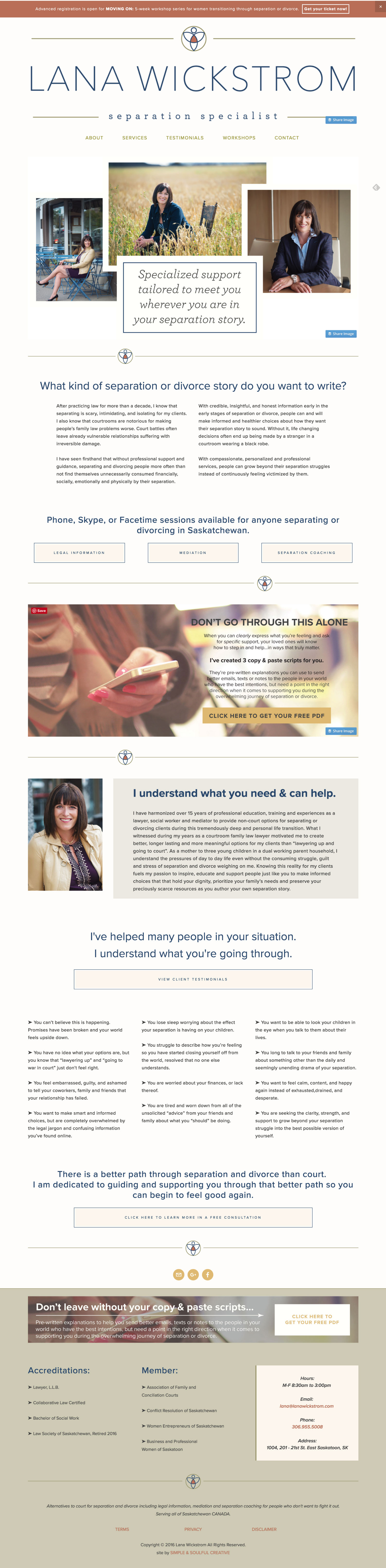 Website design for Lana Wickstrom. By Simple & Soulful Creative.