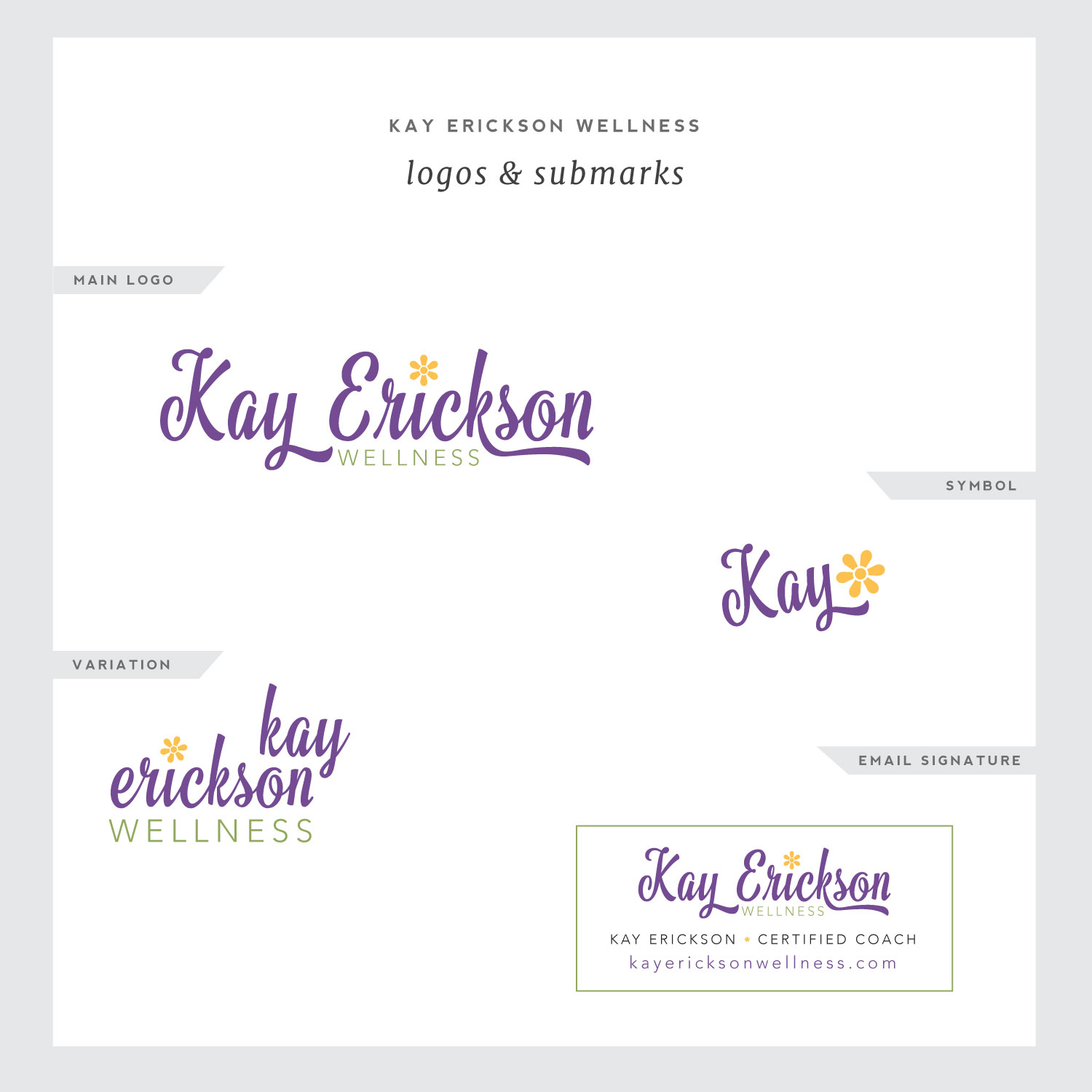 Samples of logo variations for Simple & Soulful Creative client, Kay Erickson.