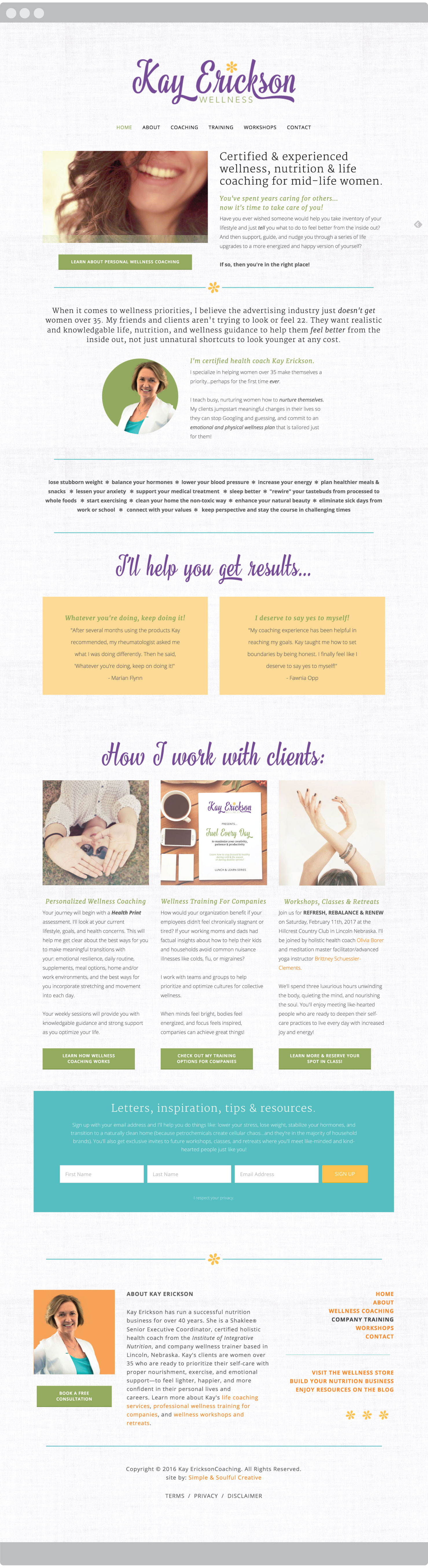 Squarespace website homepage design for certified wellness coach, Kay Erickson. We started with the Montauk template which a great fit for clients who don't have much photography. We added a linen page background to give her site a warm, welcoming feel. By Simple & Soulful Creative.