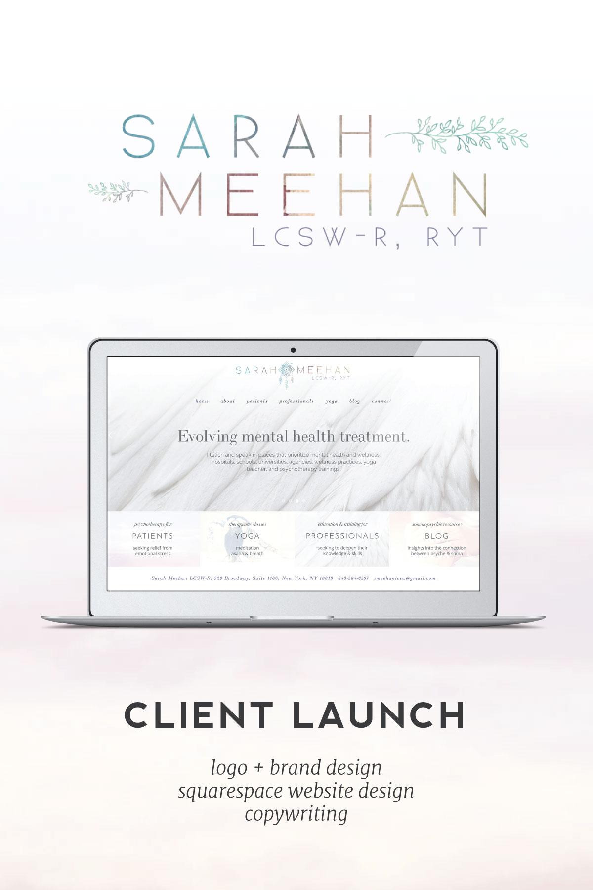 Join us as we celebrate the launch of our wonderful client, Sarah Meehan LCSW-R. We helped Sarah transition out of her DIY Squarespace website into a beautiful new Squarespace design that better fits her successful psychotherapy business.
