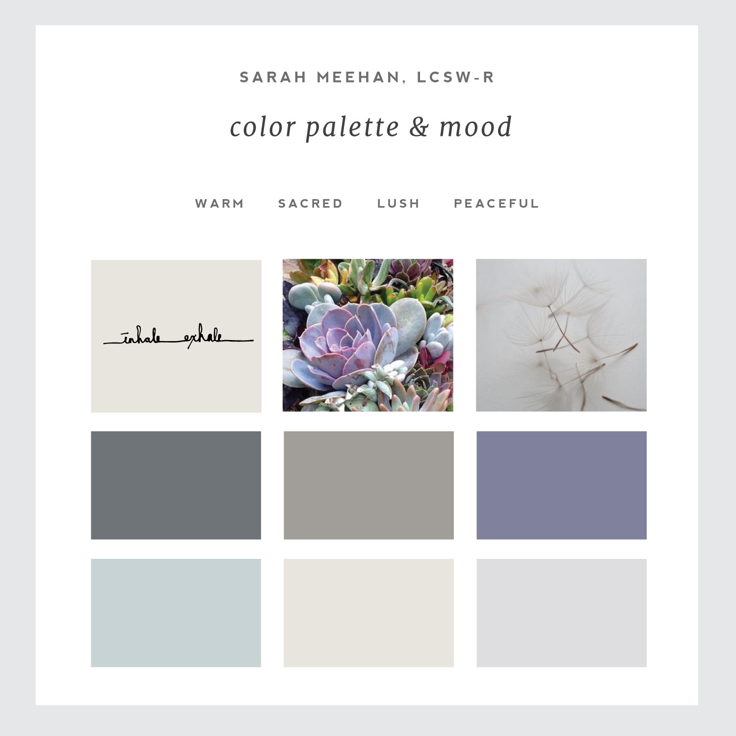 Color palette for Simple & Soulful Creative client Sarah Meehan, LCSW-R..