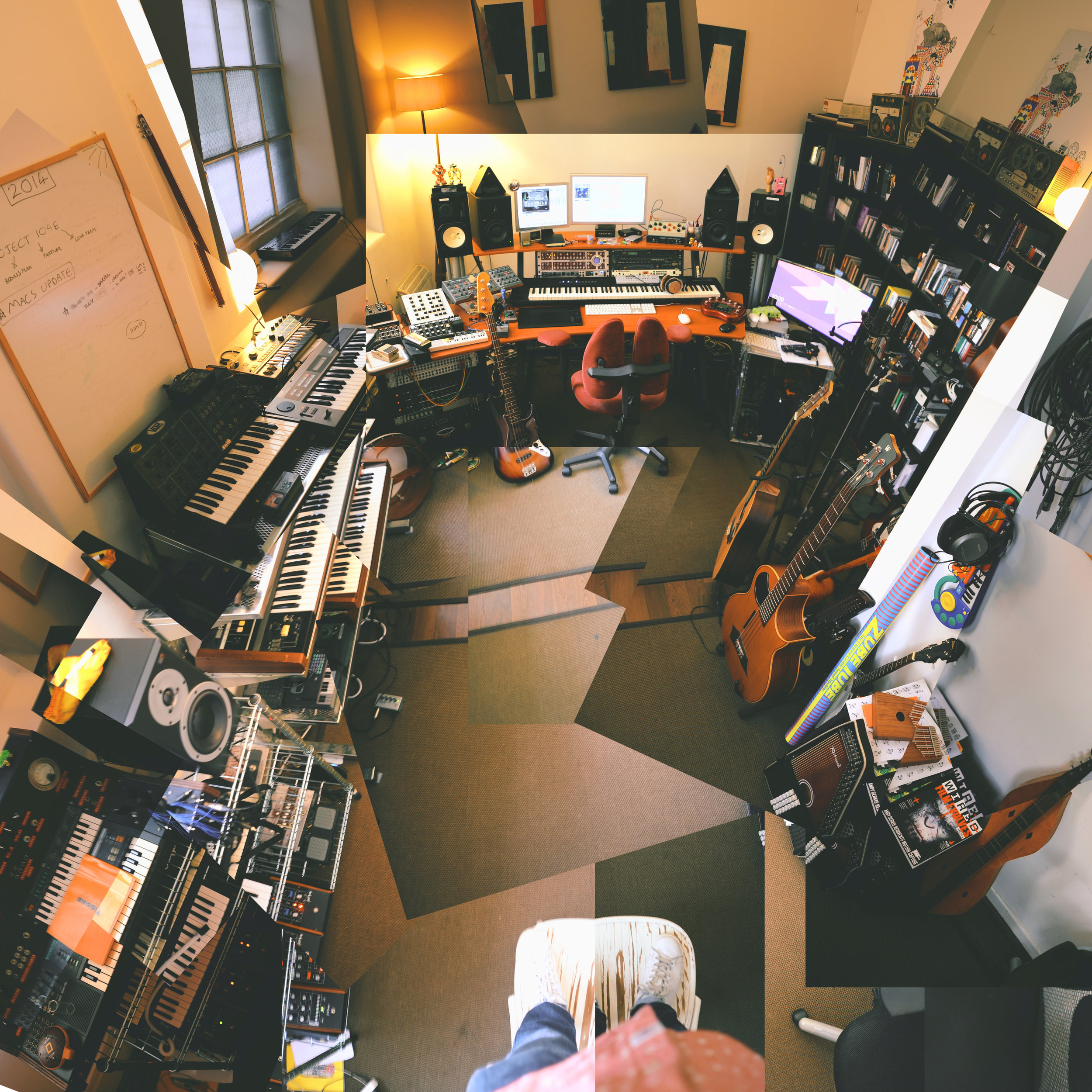 The Studio - Located in an old cooperage, the Flight's east London studio is home to an array of home made instruments and vintage analogue synthesisers.