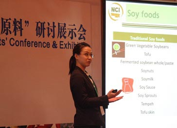 During the China Trade Mission, NCI Crop Quality Specialist Thunyaporn Naggie Jeradechachai gave presentations in Guangzhou and Beijing, China, to demonstrate the uses of North Dakota value-added ingredients.