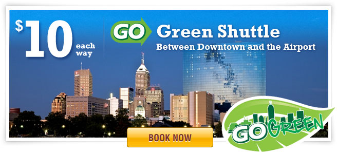 GO Green Shuttle- Just ten bucks!  Priority is given to Online Reservations!     NOTICE:   Be Advised:   Our drivers do not accept cash as payment. This is for the safety of our passengers and staff. If you choose to pay with credit card on the bus, the bus may be full and you may have to wait.  Make a reservation online to guarantee your scheduled time.   The Go Green Airport Shuttle is the express Indianapolis Airport shuttle serving Downtown Indianapolis. Our most popular stops serve Lucas Oil Stadium, The Convention Center, and The Marriott Complex (JW Marriott). The shuttle operates from 8:00 am to 11:00 pm 7 days a week.      Click Here for the layout of the Indianapolis Airport and where to get the bus.      See the bus locations in real time using the Doublemap APP.   Click Here to view GO Green buses!     It's just $10.00 one-way ! Priority is given to online reservations. We strongly recommend you book a round trip reservation online so you won't have to wait for the next bus! At the airport, Cash and Major Credit Cards are accepted but walkups may have to wait for the next shuttle.  Route/Schedule Information