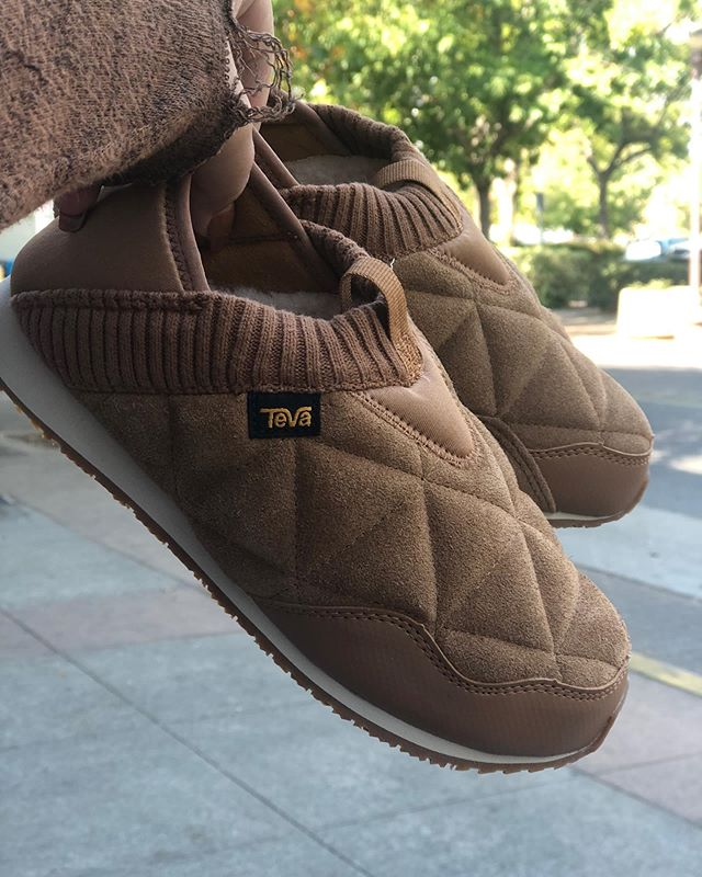 New Arrival!!! Teva Ember Moc Shearling $100 Available in men's and women's.  Just when you thought the Teva Ember Moc couldn't get any cozier, it did. Say hello to the Ember Moc Shearling. Teva has taken their coveted slipper sneaker to the next level with a ridiculously soft wool that'll keep toes toasty on the chilliest of nights. Don't worry, it's still got the same cushioning EVA midsole and collapsible heel you've grown to love.