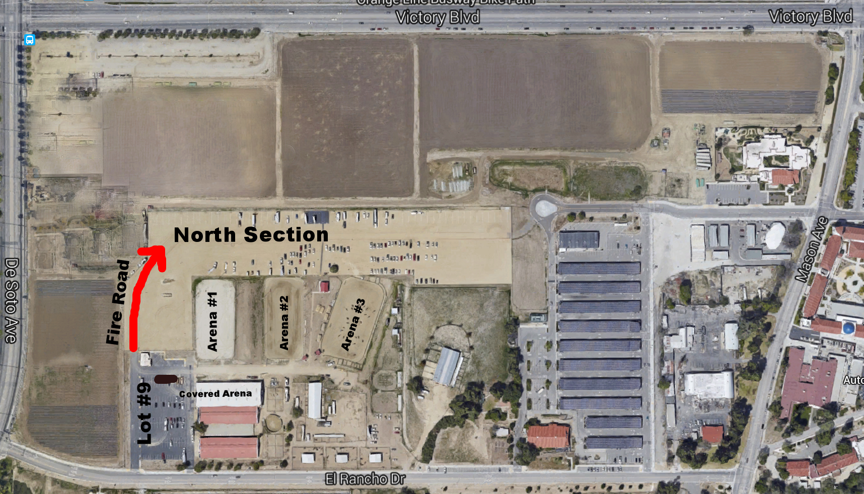 Goggle Satellite View Pierce College Equestrian Center Complex