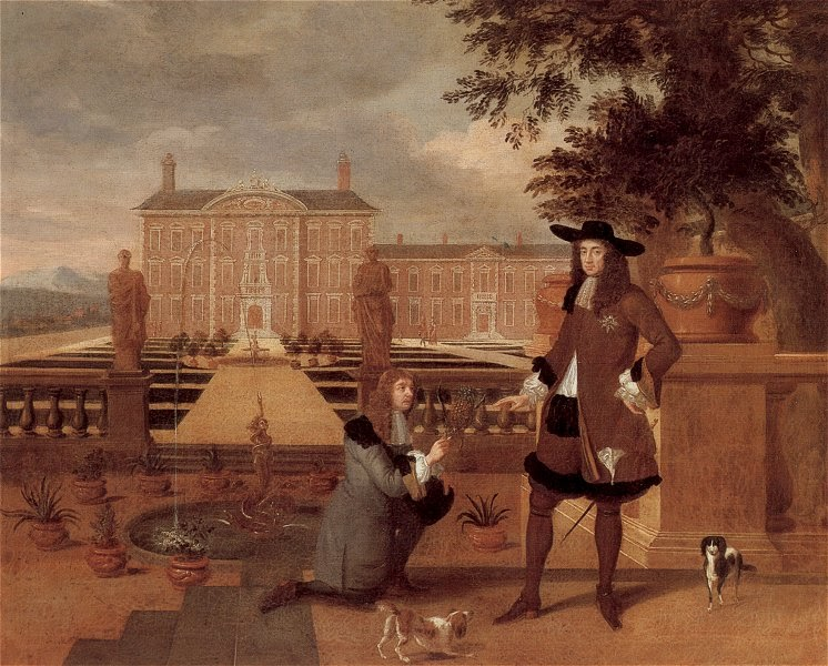 17th century painting of Charles II receiving a gift of a pineapple from a loyal subject