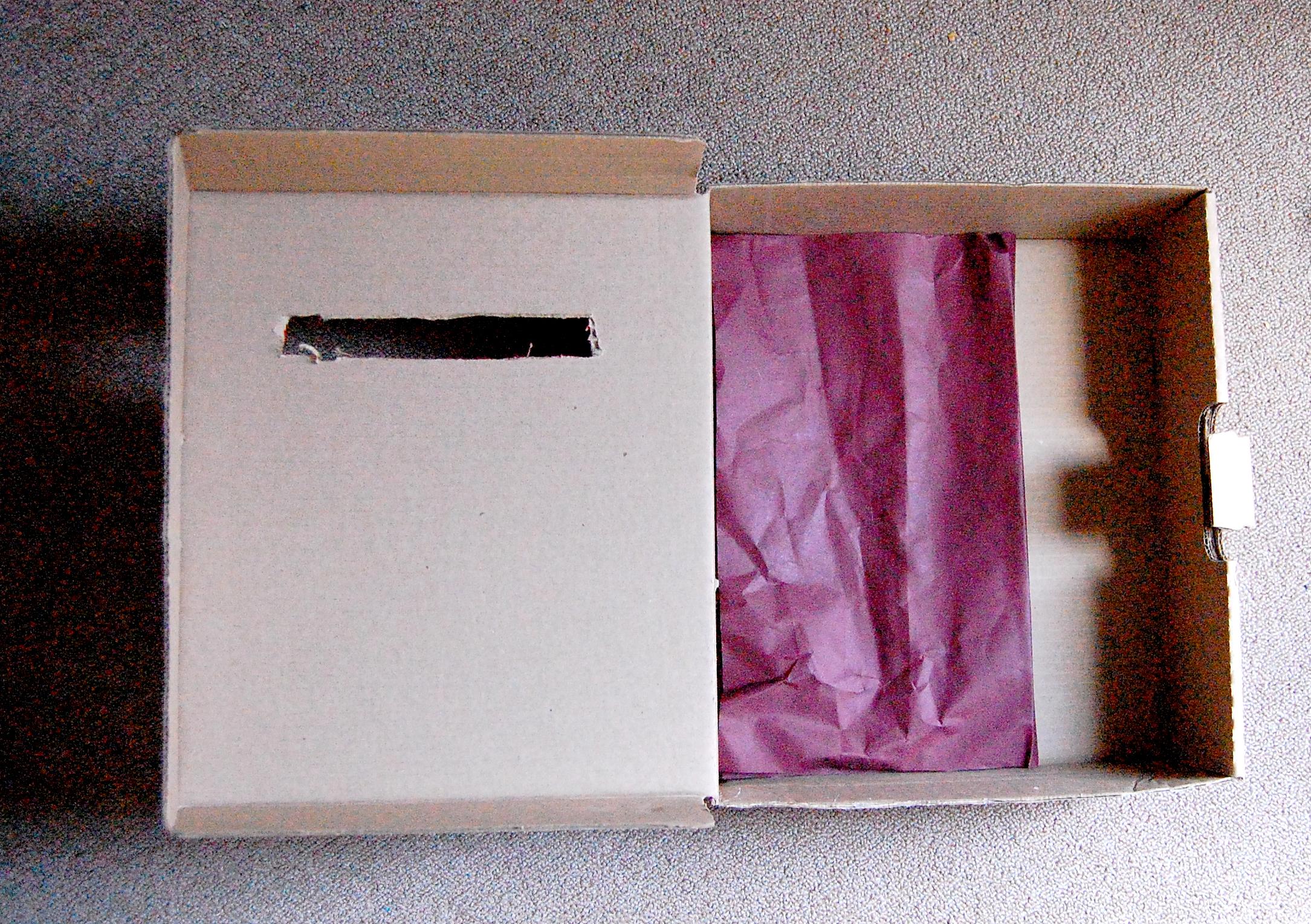 Step 1. Cut letter slot into shoebox