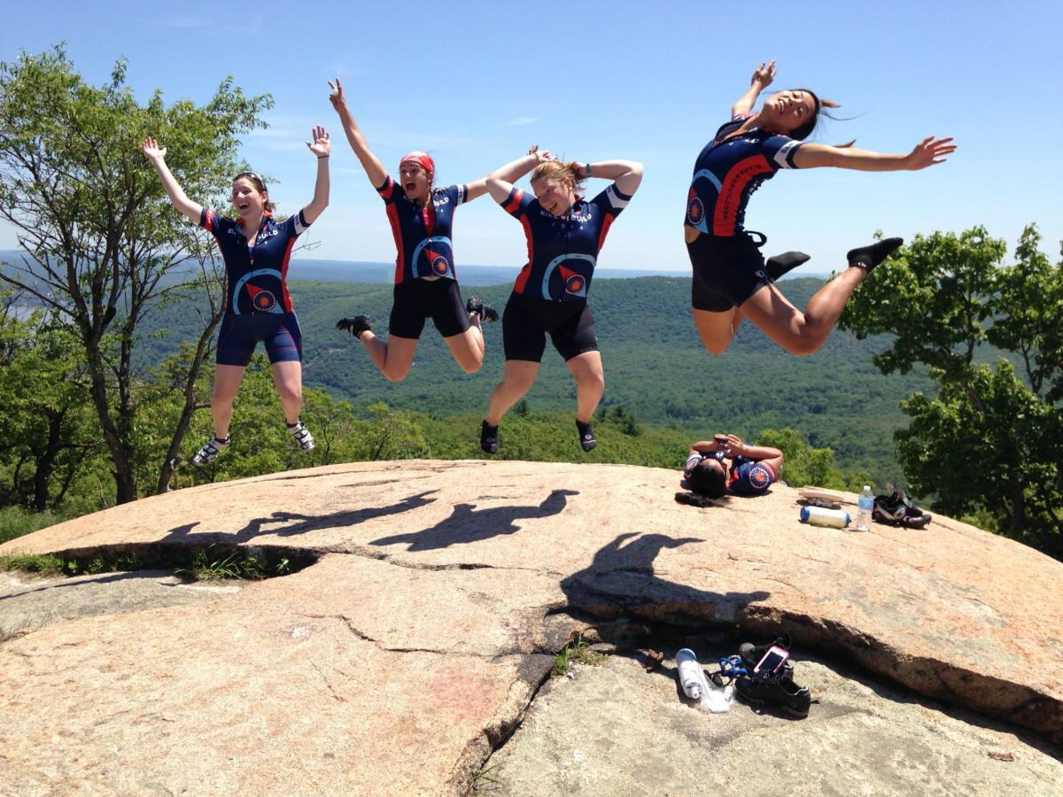 Jumping pic of course on the top of Bear Mountain - can you tell who the two retired gymnasts are?