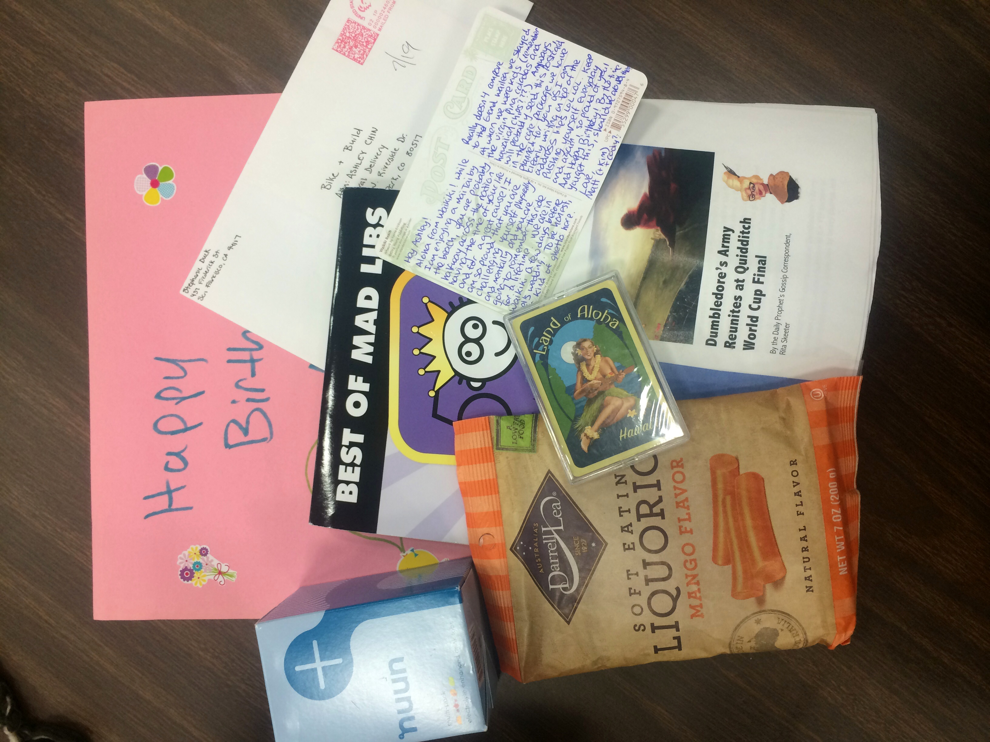 The best care package from Matthew and Kim, and a letter from Stephanie! :)