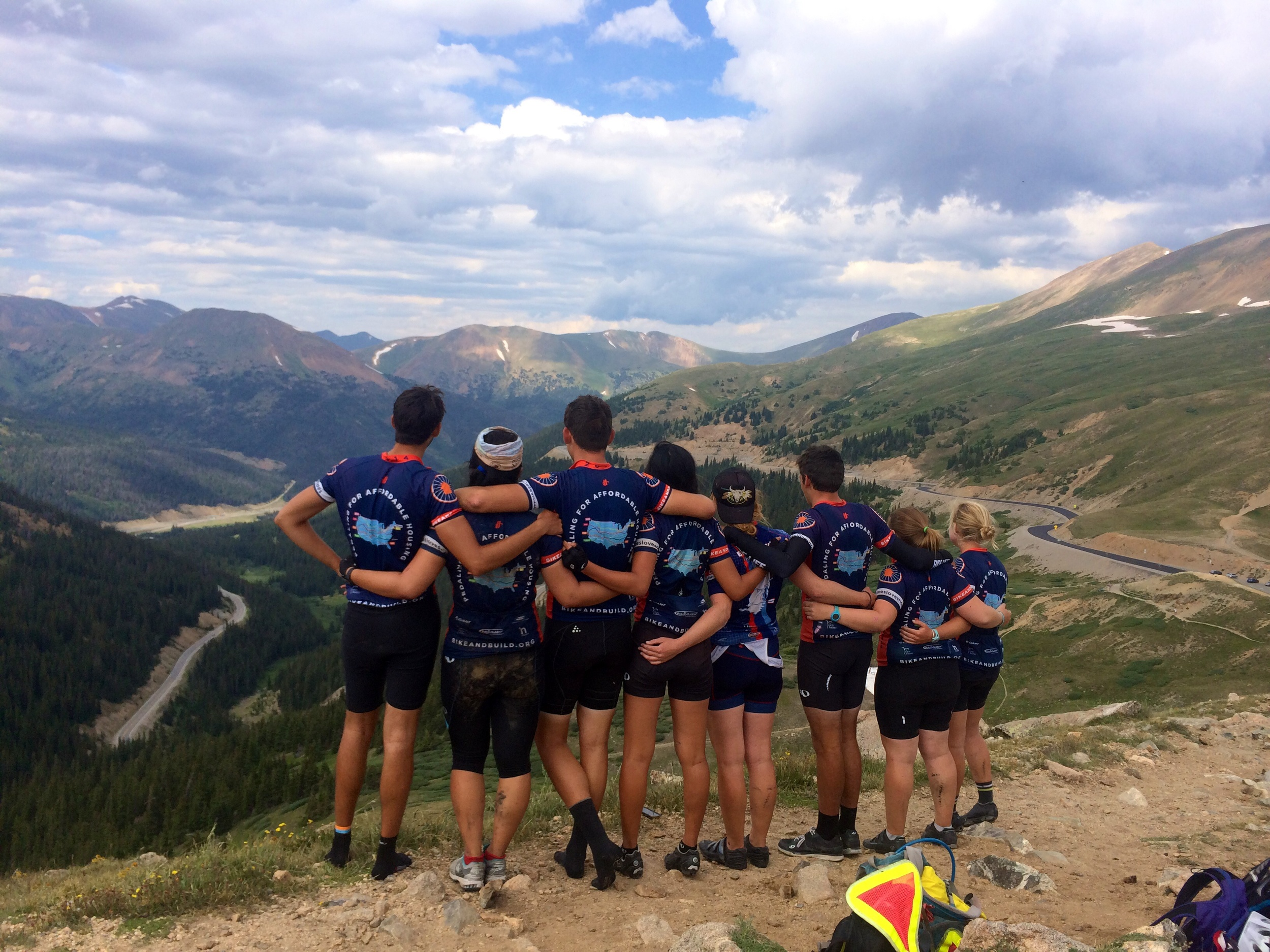 Looking at the road we just climbed up, and admiring the view we worked so hard for!