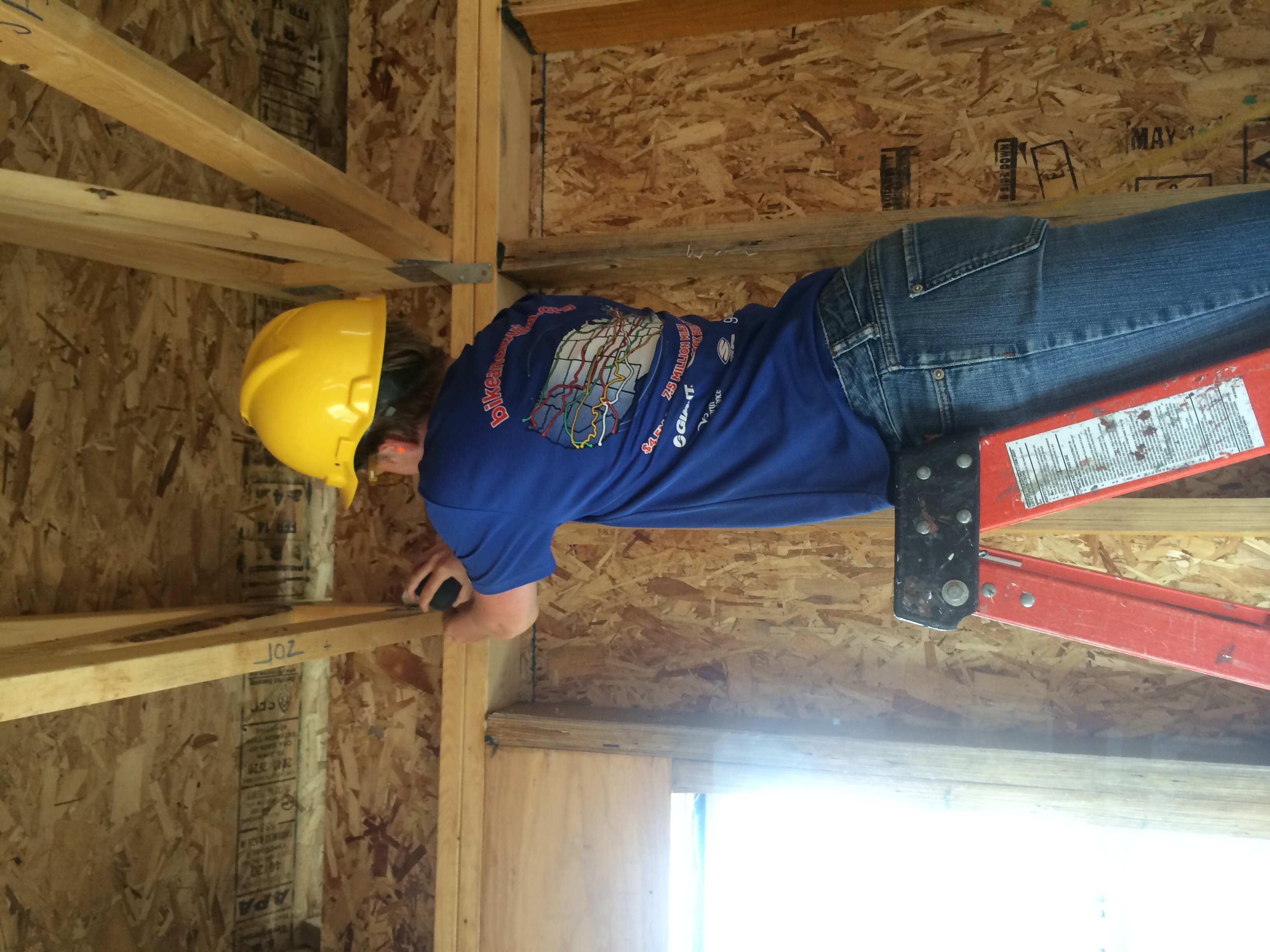 Meg and I were installing hurricane ties, which secure the roof to the walls in high winds.