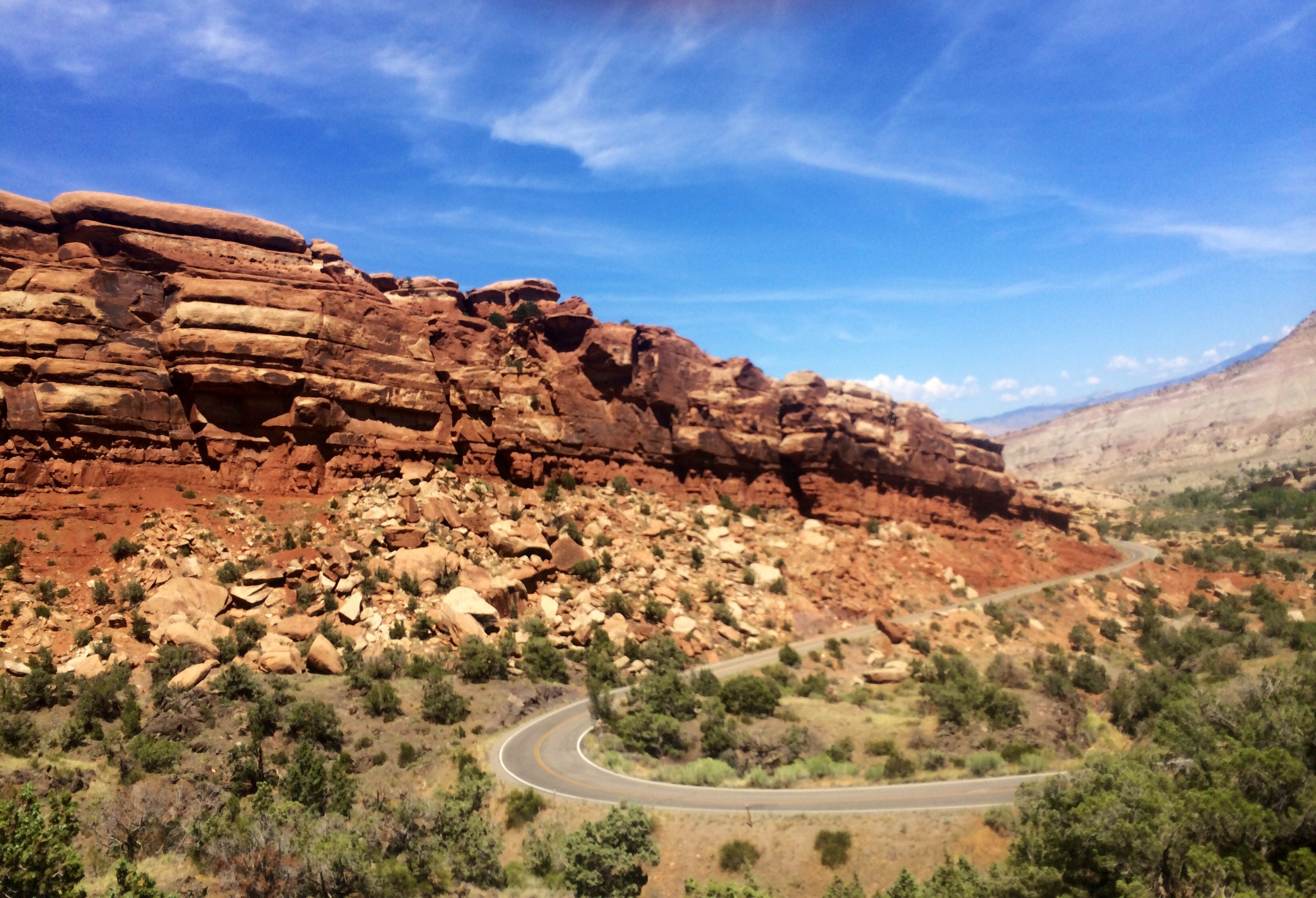 The switchbacks up to the top of the canyon in Colorado National Monument