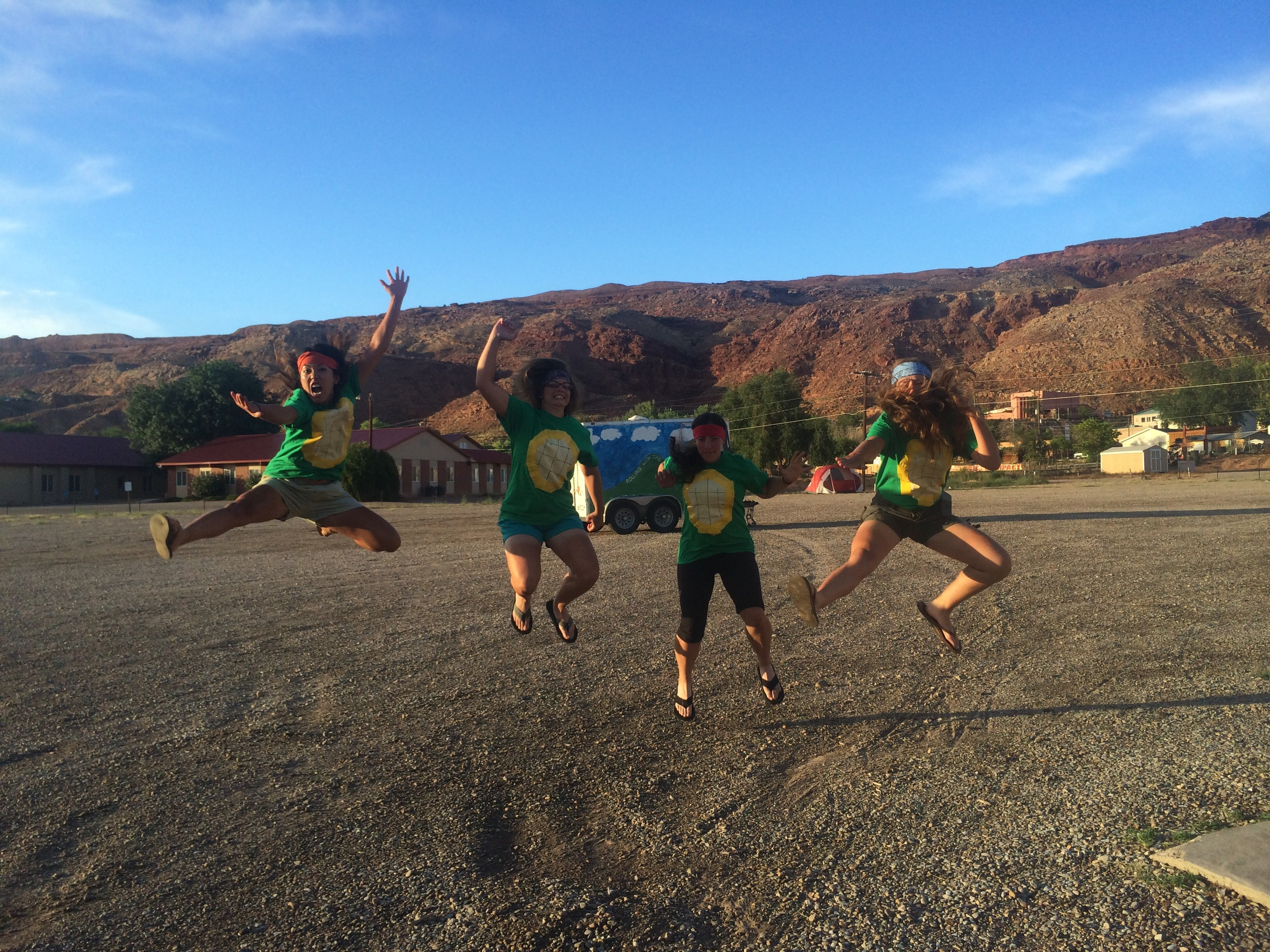 For our Bike and  Build prom in Moab, my dates Rachel, Mara, Emily and I dressed up as the Teenage Mutant Ninja Turtles. Cowabunga!