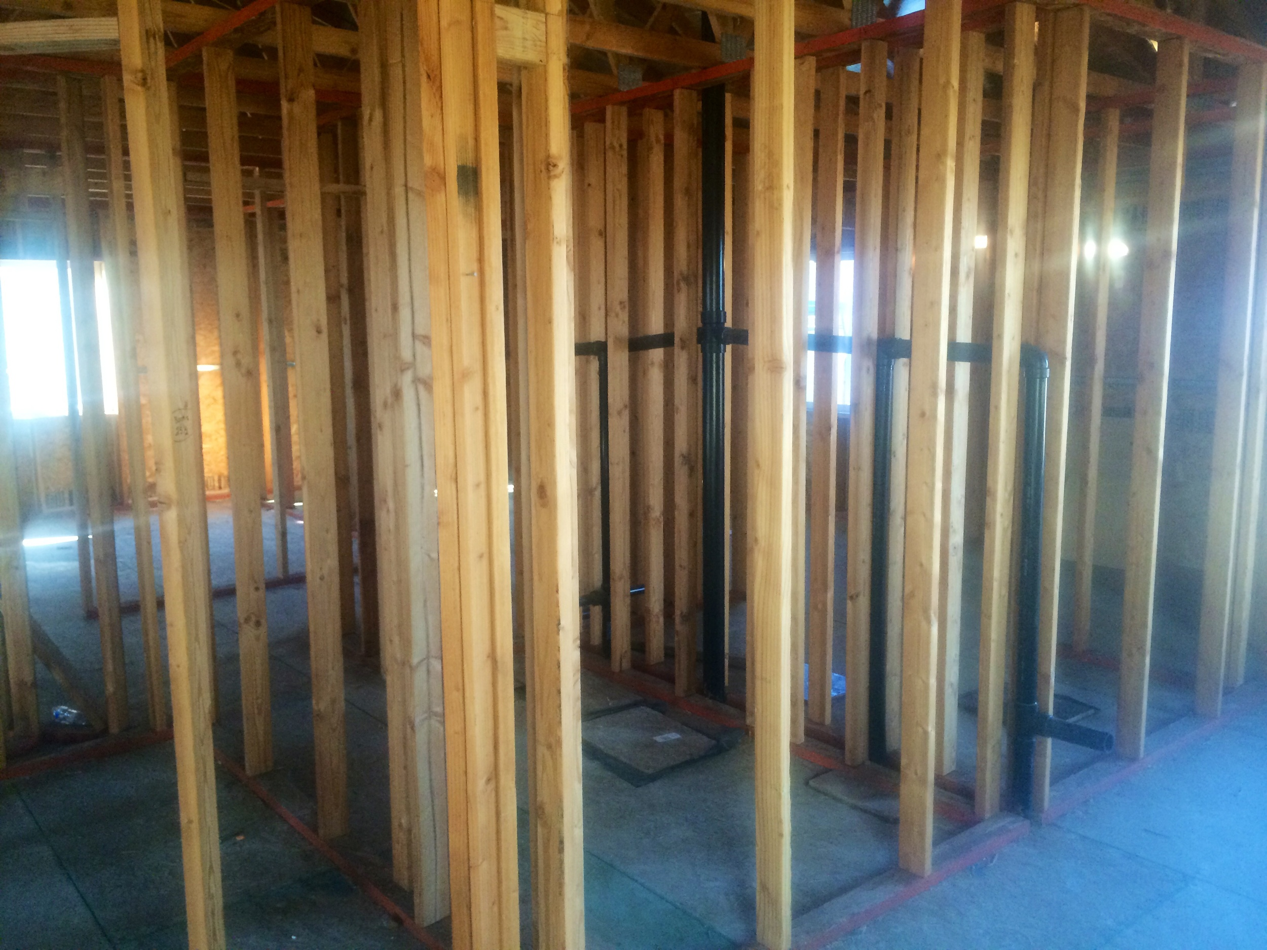 The black pipes for plumbing will serve the entire house; all located in one wall!