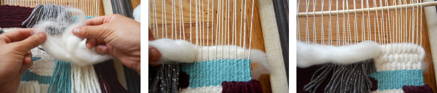 Woven Wall Hanging Tapestry - Wool Roving 1
