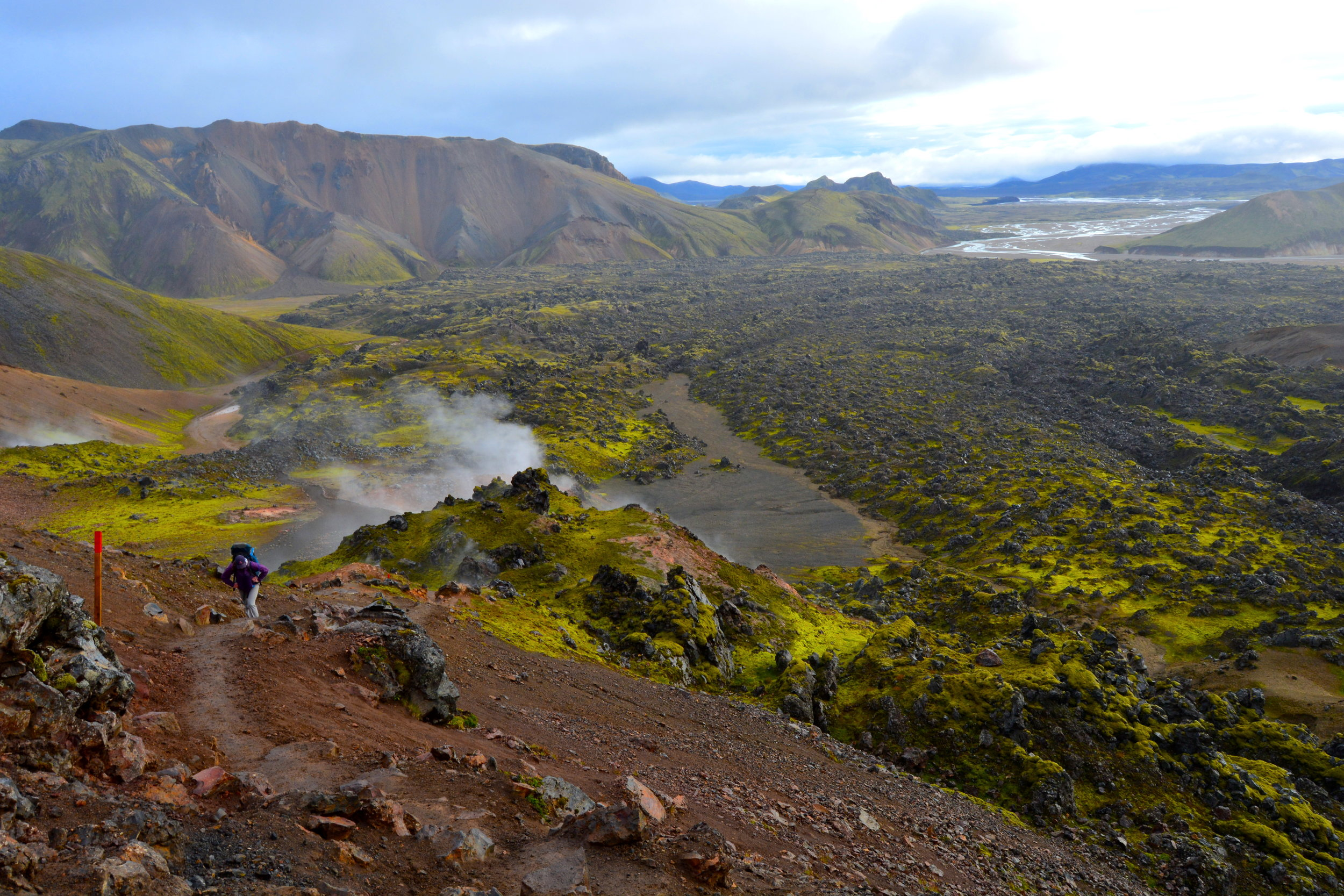 The view from our first steep ascent, looking back at all of the moss-colored lava fields