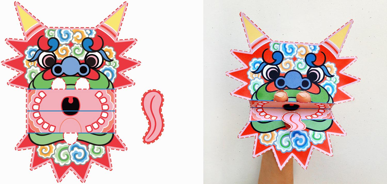 Paper dragon puppet pattern