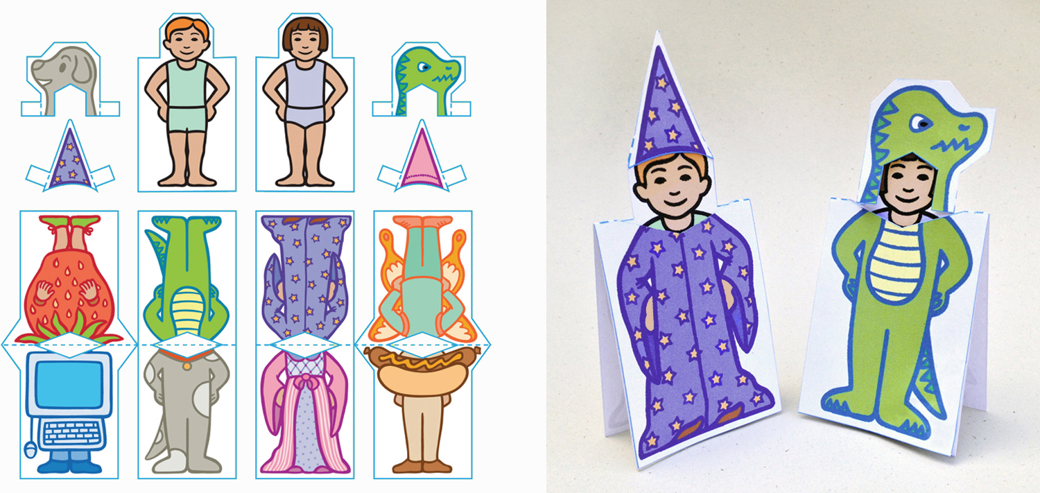 Halloween reversible stand-up paper dolls