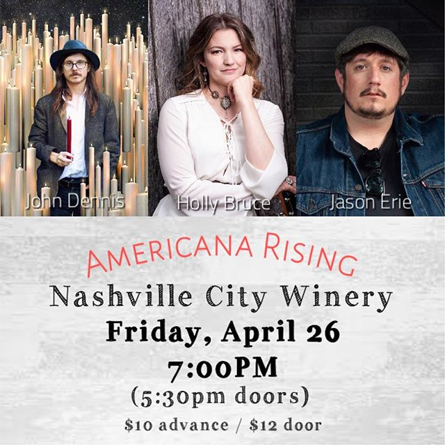 Excited to be @citywinerynsh Friday, April 26 with John Dennis @kiedennis & Jason Erie @jasoneriemusic 🎶💛 Tix link in profile 🙌  #fun #americana #music #americanarising #gig #singersongwriter #hollybrucemusic