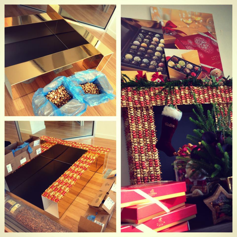 Fireplace made with Godiva Chocolates