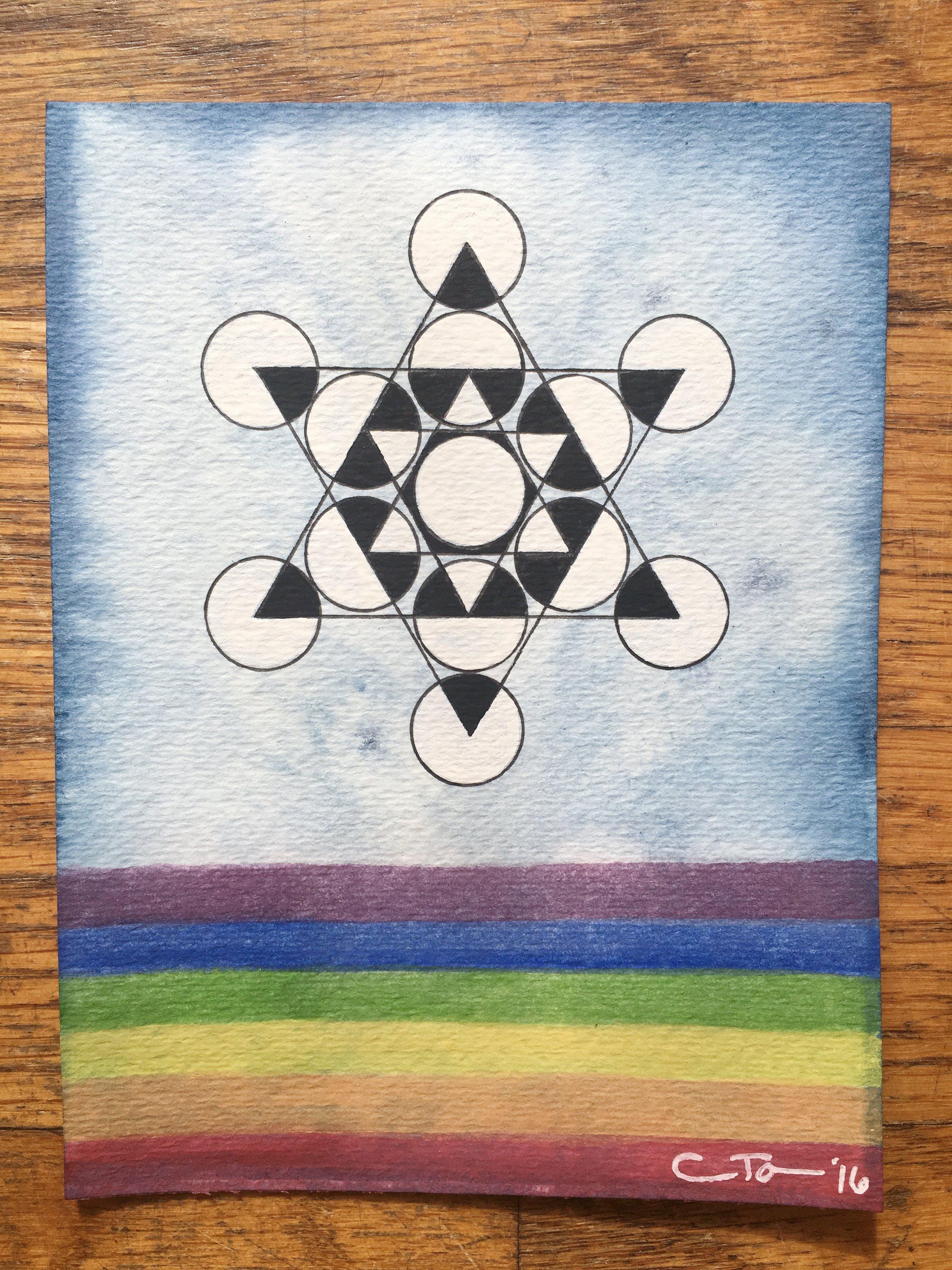 Rainbow Geometry Variation of Metatrons Cube