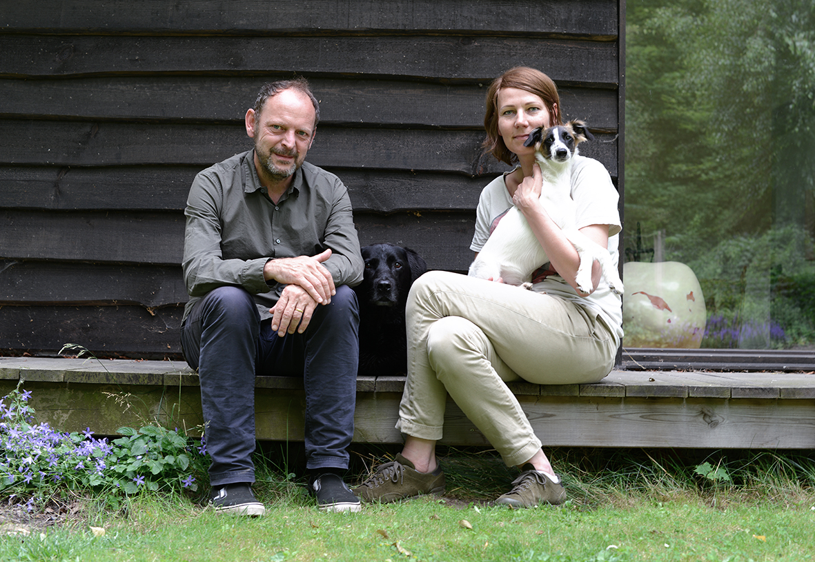 The owners and founders,  Todd and Petra, and their dogs, Johan and Freddie.