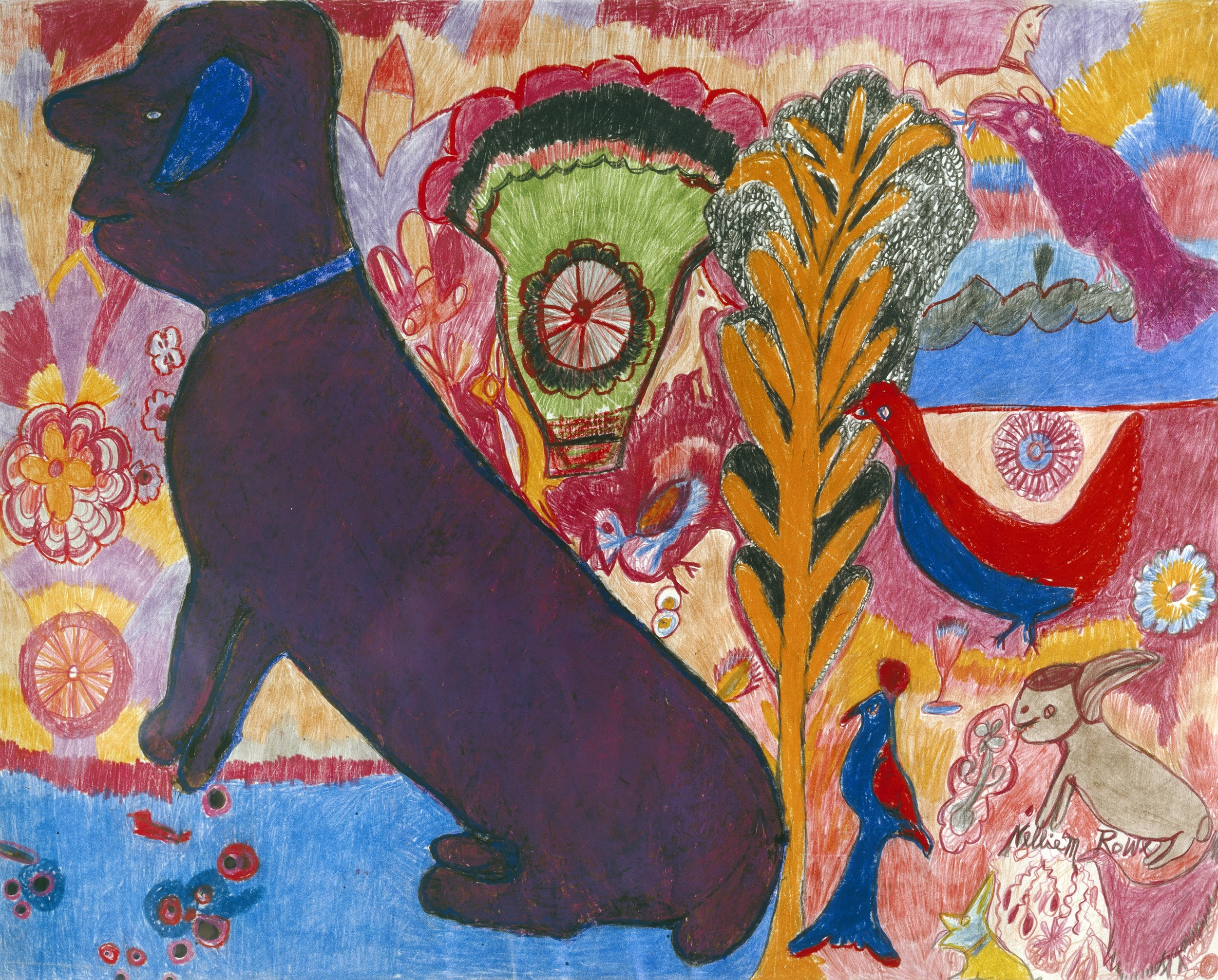 Nellie Mae Rowe Purple Dog, 1979, colored pencil on paper  Louis-Dreyfus Family Collection