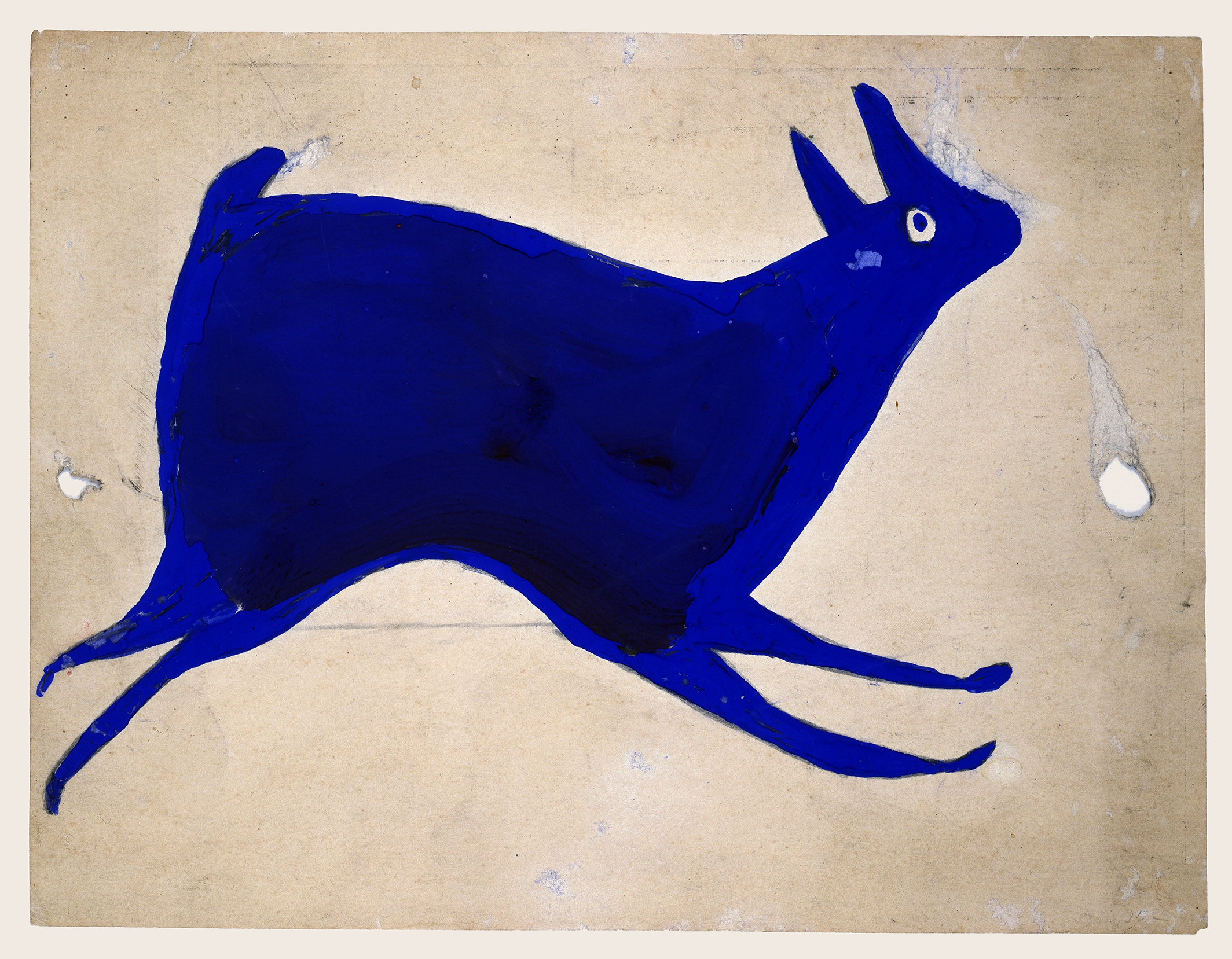 Bill Traylor Blue Rabbit Running, 1939-1942, Poster paint and pencil on cardboard  Louis-Dreyfus family collection
