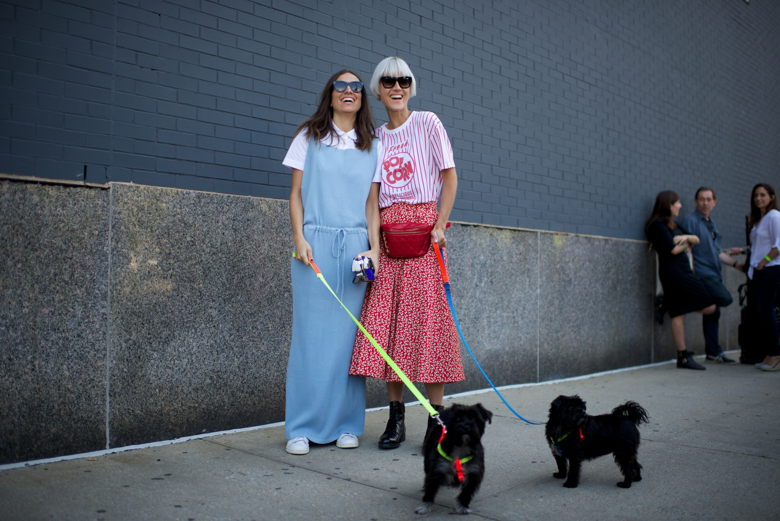 Sweet gals on street WARE OF THE DOG