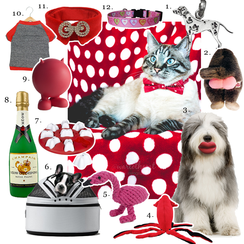 1. FineARF,   Silver Dalmatian Charm  2. Silly Bums,   Silly Bums Baboon  3. Moody Pet,   Humunga Lips  4. P.L.A.Y.,   Under the Sea Giant Squid Toy  5. Jax & Bones,   Flamingo Rope Dog Toy  6. Sleepypod,  Arctic White Carrier  7. Nina Ottosson,   Dog Smart Plastic Level 1  8. VIP Products,   Silly Squeaker Wine Bottle Meow Chased One   9. JW Pet,   Bad Cuz Dog Toy  10. penn + pooch,   Babe Tshirt in Grey and Red  11. Couture by Sophie,  The Morgan Velvet 12.  Dog Collar Boutique ,  Sweethearts Collar  Center image :  Warlo the Cat  in Heart Bowtie