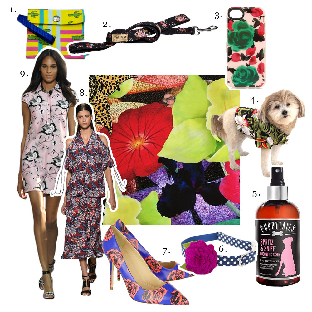 1. Pepito & Co,    Arizona Leash Bag     2.   VAI-KØ,    Alma Dog Leash     Marc by Marc Jacobs,    Floral iPhone Case     4. Dog Threads,    Tropical Button Down     5. Puppytails,    Spritz & Sniff in Coconut Blosso m    6. Pecan Pie Puppies,    Flower Dog Collar in Plum Polka Dots     7. J.Crew,    Floral Print Leather Pumps     8. Thakoon,    Spring/Summer 2015 Collection     9. Diane von Furstenberg,    Spring/Summer 2015 Morgan Raw Silk Tunic Dress   Center photo WHERE IS THE BABY, 13   Alexandra Penney  , 2015