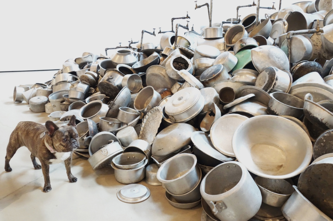 """Where'd all the food go?  Subodh Gupta """"This is not a fountain,"""" 2011-2013 in Subodh Gupta. Seven Billion Light Years' at Hauser& Wirth."""