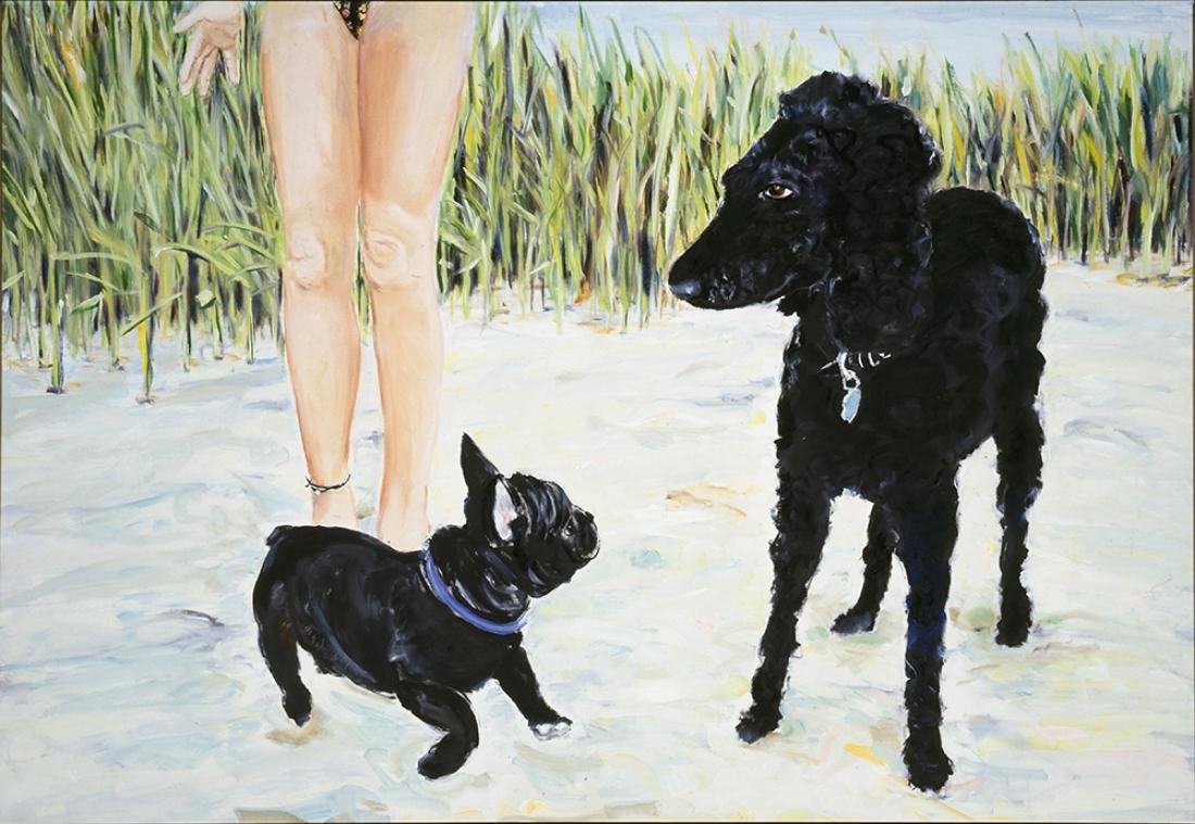Clarissa, Dave & Flora , 1994, oil on canvas, 43.25 x 63 in.