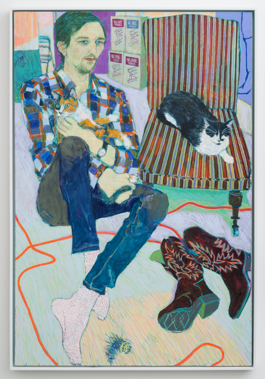Must Seriously Love Cats (Greg Lindquist) , 2015, Acrylic on canvas, 72 x 48 in., (HG0266), Courtesy: Susan Inglett Gallery, NYC., Photo Credit: Adam Reich, NYC.