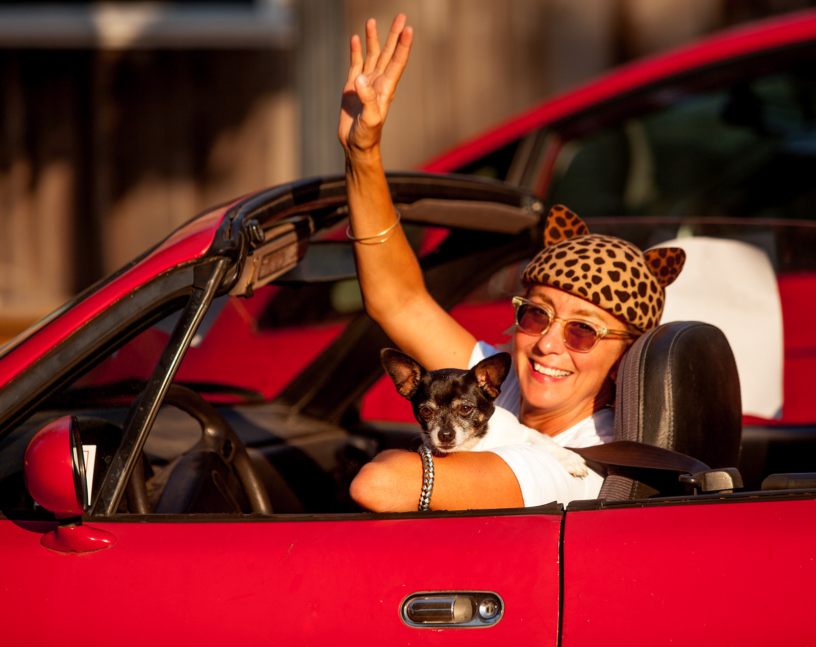 Waving goodbye and special thanks to Eugenia Kim for the lovely chapeaus