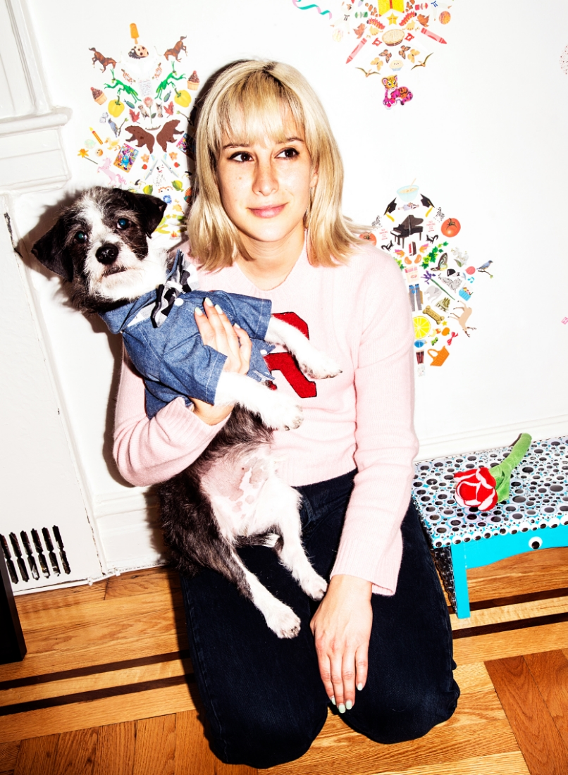 Lafitte in a  DOG & CO.  top and a  Max_Bone collar  and Rachel in her own  R Varsity Sweater