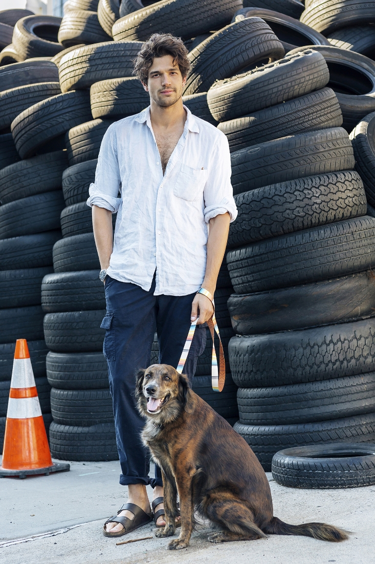 Paul Kelly/Wilhelmina and his rescue dog Malcolm in a  LEEDS DOG SUPPLY  collar and leash.
