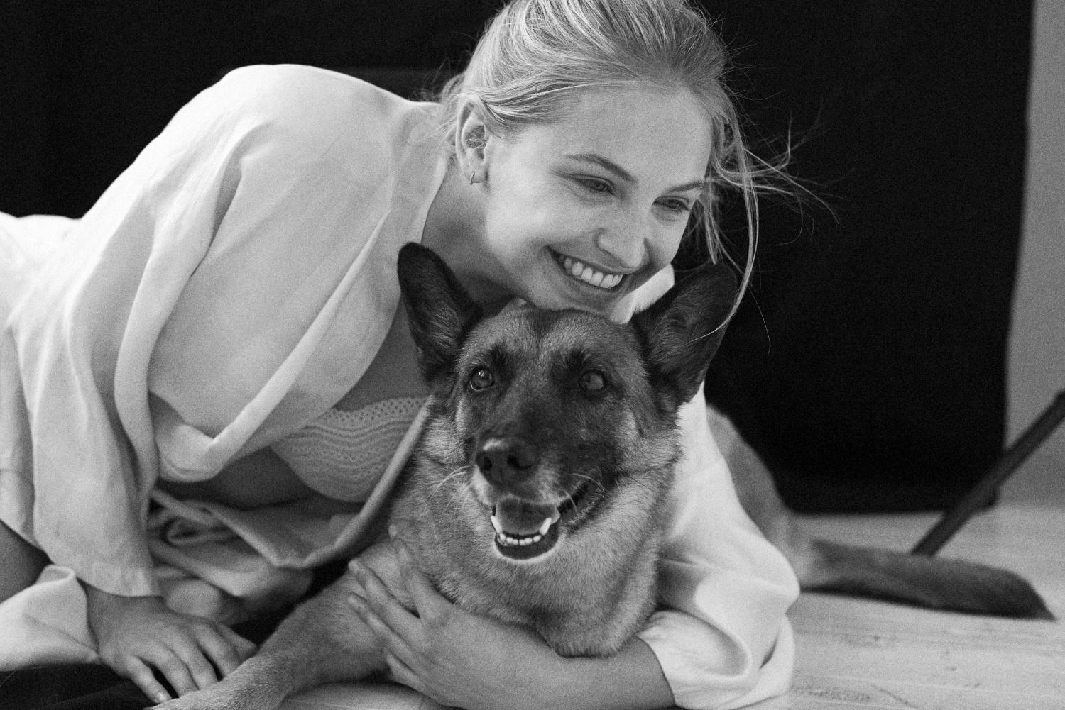 Joana and her rescue pooch from Women 360 Management
