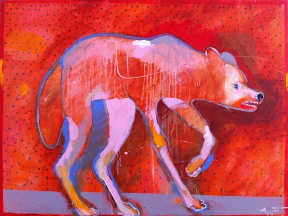 Wet Dog, 2013 acrylic on canvas 36 x 48 inches