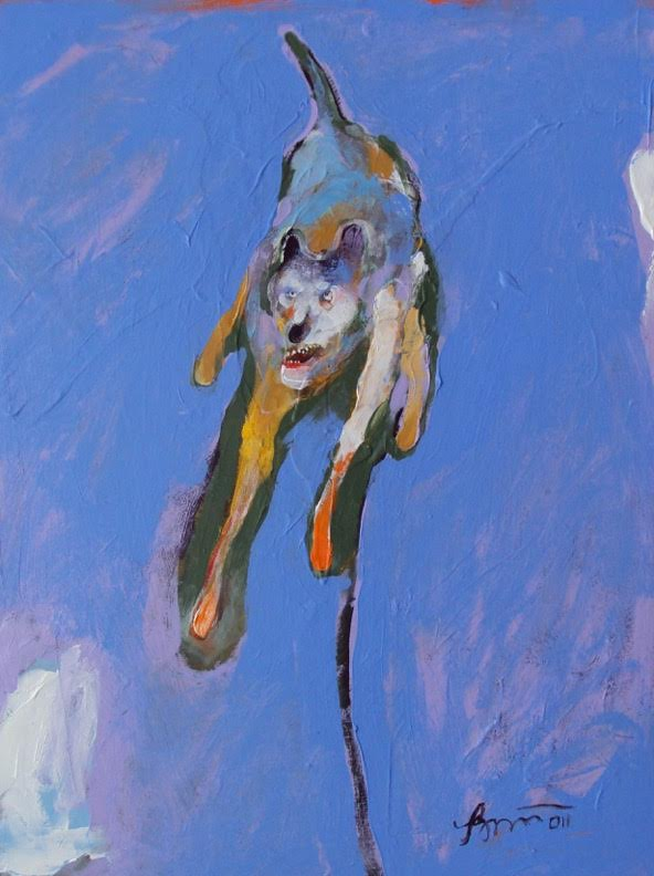 Dog Barking at Nothing at All, 2011 acrylic on panel 16 x 12 inches