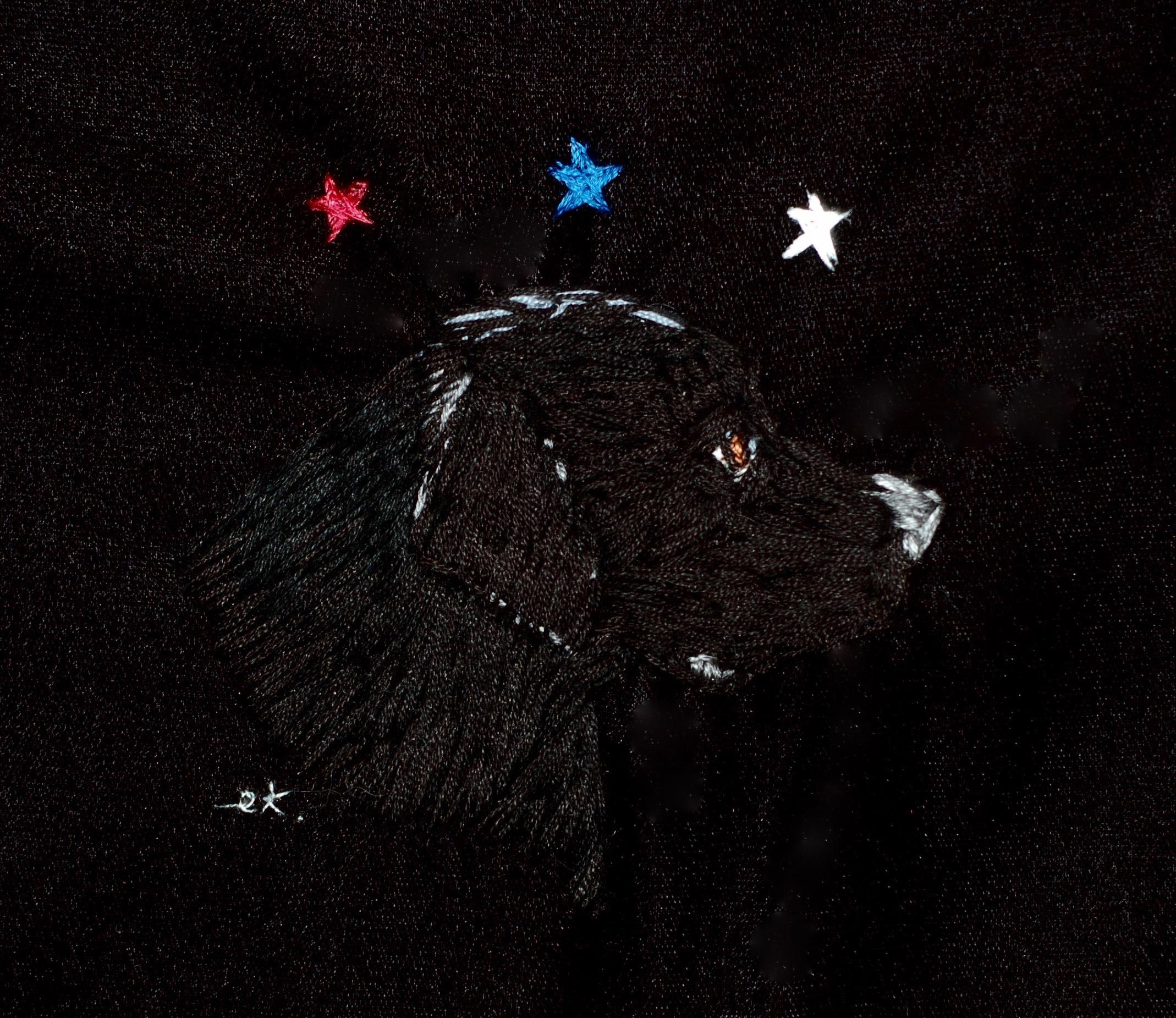 """America's Dog,2016 silk on velvet 6 1/2"""" x 6 1/2"""""""