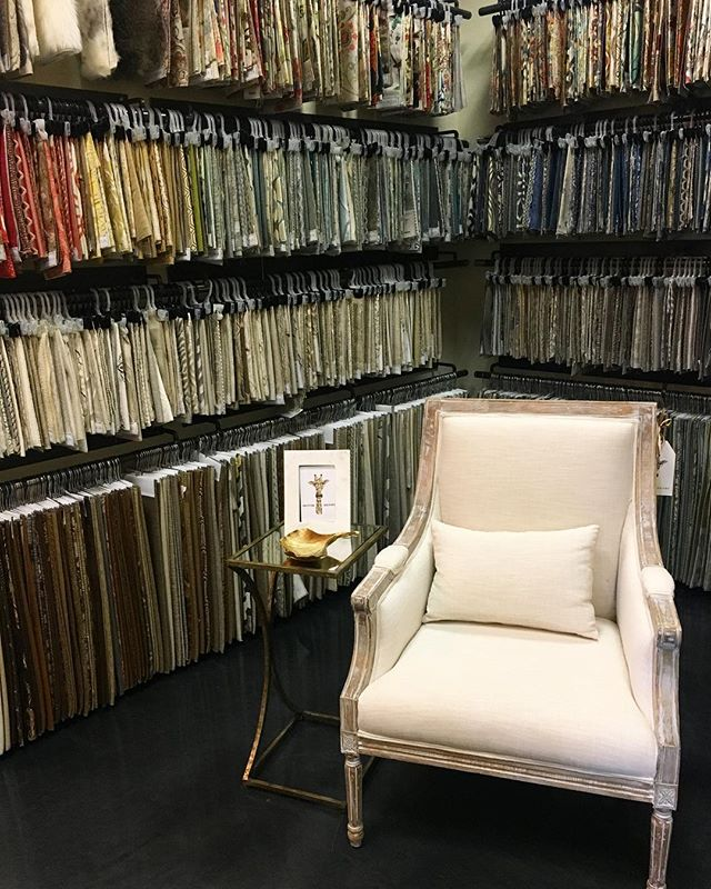 Did you know that we have a fabric room in back? We can help you select fabric to recover furniture, make custom pillows, and custom draperies!