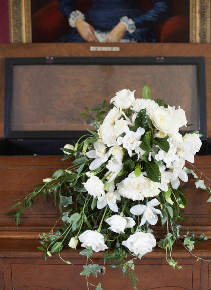 Cascading bouquet: gardenias, garden roses & orchids