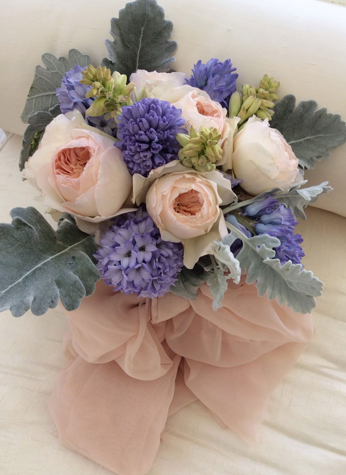 Garden roses, hyacinth & dusty miller bouquet
