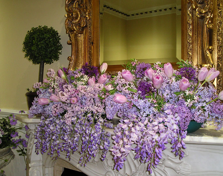 Spring floral arrangement with wisteria & tulips